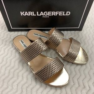 Karl Lagerfeld Alkali Gold Sandals With Box Size 7